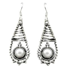 Clearance Sale- Natural white pearl 925 sterling silver dangle earrings jewelry d16068