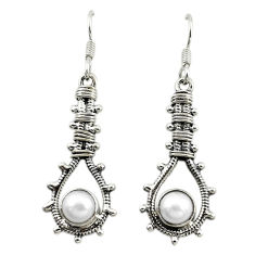 Clearance Sale- 925 sterling silver natural white pearl dangle earrings jewelry d16070