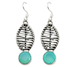 Natural aqua chalcedony 925 sterling silver dangle earrings d16081