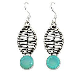 Natural aqua chalcedony 925 sterling silver dangle earrings d16082