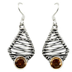 Clearance Sale- Brown smoky topaz 925 sterling silver dangle earrings jewelry d16085