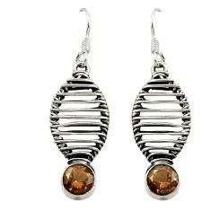 Clearance Sale- Brown smoky topaz 925 sterling silver dangle earrings jewelry d16087