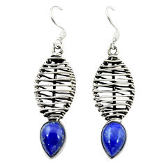Clearance Sale- Natural blue lapis lazuli 925 sterling silver dangle earrings d16095