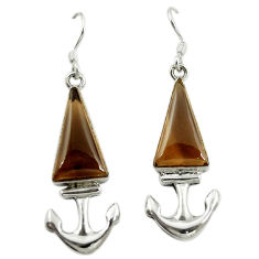 Clearance Sale- Brown smoky topaz 925 sterling silver dangle earrings jewelry d16344