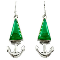 Clearance Sale- Natural green chalcedony 925 sterling silver dangle anchor charm earrings d16351