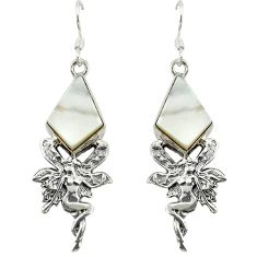 Natural blister pearl 925 silver angel wings fairy earrings jewelry d16370