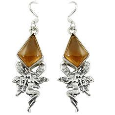 925 sterling silver brown smoky topaz angel wings fairy earrings jewelry d16377