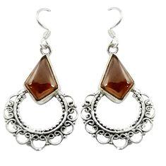 Brown smoky topaz 925 sterling silver dangle earrings jewelry d16379