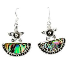 Clearance Sale- Natural green abalone paua seashell 925 silver flower earrings d16384