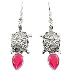 Clearance Sale- Natural red ruby 925 sterling silver tortoise earrings jewelry d16403
