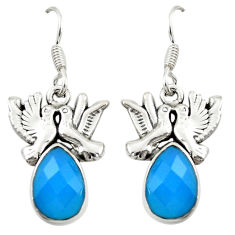 Natural blue chalcedony 925 sterling silver love birds earrings d16405