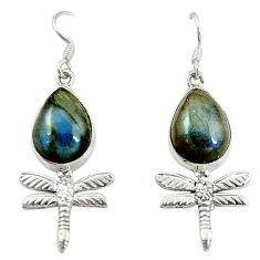 Clearance Sale- Natural blue labradorite 925 sterling silver dragonfly earrings d16413