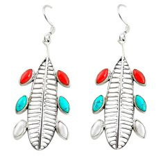 Red coral turquoise pearl 925 sterling silver dangle earrings jewelry d16438