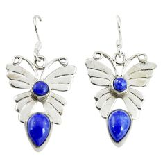 Clearance Sale- Natural blue lapis lazuli 925 sterling silver butterfly earrings d16445
