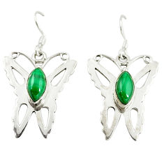 Natural green malachite (pilot's stone) 925 silver butterfly earrings d16453