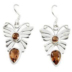 Clearance Sale- Brown smoky topaz 925 sterling silver butterfly earrings jewelry d16460