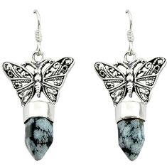 Natural black australian obsidian 925 silver butterfly earrings d16461