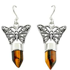 925 sterling silver natural brown tiger's eye butterfly earrings jewelry d16463
