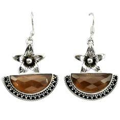 Brown smoky topaz 925 sterling silver flower earrings jewelry d16466