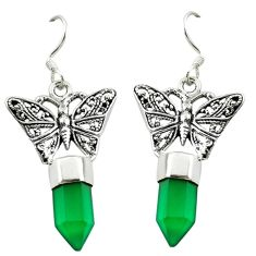 925 sterling silver natural green chalcedony butterfly earrings jewelry d16469