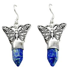 Natural blue lapis lazuli 925 sterling silver butterfly earrings jewelry d16473