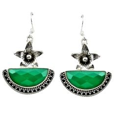 Natural green chalcedony 925 sterling silver flower earrings jewelry d16475