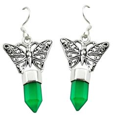 Natural green chalcedony 925 sterling silver butterfly earrings d16476