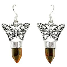 Natural brown tiger's eye 925 sterling silver butterfly earrings d16477