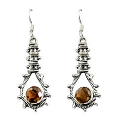 Brown smoky topaz 925 sterling silver dangle earrings jewelry d16521