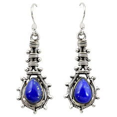 Natural blue lapis lazuli 925 sterling silver dangle earrings d16523