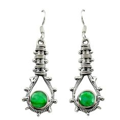 925 sterling silver natural green emerald dangle earrings jewelry d16524
