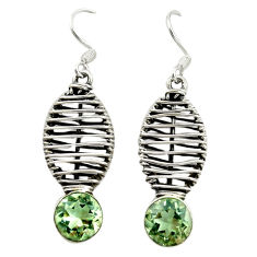 Clearance Sale- Natural green amethyst 925 sterling silver dangle earrings jewelry d16531