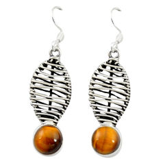 Natural brown tiger's eye 925 sterling silver dangle earrings jewelry d16536