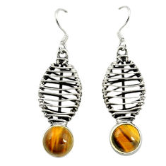 Natural brown tiger's eye 925 sterling silver dangle earrings jewelry d16556