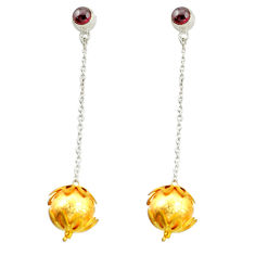 Clearance Sale- Natural red garnet 925 sterling silver 14k gold ball earrings jewelry d16565