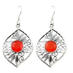 Clearance Sale- Natural orange cornelian (carnelian) 925 silver dangle earrings d16582