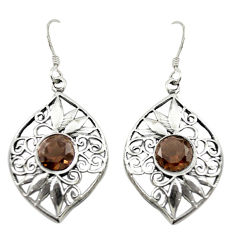 Clearance Sale- Brown smoky topaz 925 sterling silver dangle earrings jewelry d16587