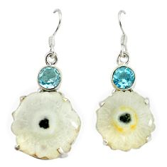 Natural white solar druzy topaz 925 sterling silver earrings d16603