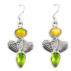 Clearance Sale- Natural multi color ethiopian opal 925 silver couple hearts earrings d16712