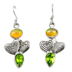 Natural multi color ethiopian opal 925 silver couple hearts earrings d16714