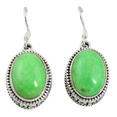 Natural green variscite 925 sterling silver dangle earrings d16728