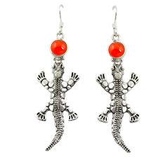 Natural orange cornelian (carnelian) 925 silver dangle lizard earrings d16782