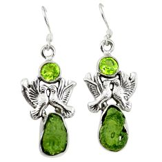 Natural green moldavite (genuine czech) 925 silver love birds earrings d16805