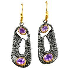 925 silver natural purple amethyst black rhodium gold dangle earrings d16815