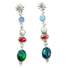 Natural green malachite in azurite pearl 925 silver dangle earrings d17062