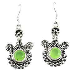 Natural green prehnite 925 sterling silver dangle earrings d17298