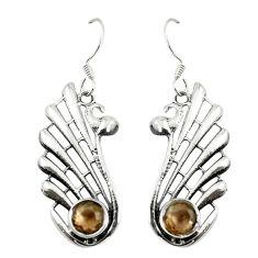 Clearance Sale- Brown smoky topaz 925 sterling silver dangle earrings jewelry d17330