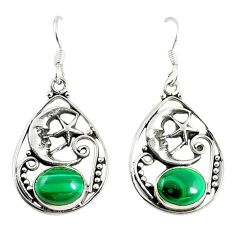 Green malachite (pilot's stone) 925 silver crescent moon star earrings d17337