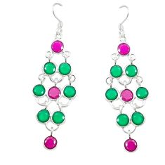 Red ruby green emerald quartz 925 silver dangle earrings d17393
