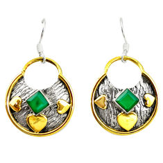 Clearance Sale- Victorian natural green chalcedony 925 silver two tone dangle earrings d17421